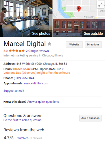 google my business snippet